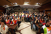 Telemadrid  TV Employees on strike during a press conference