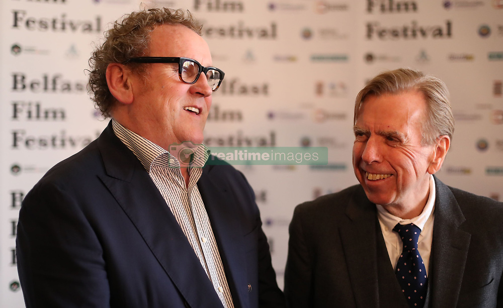 Colm Meaney (left) and Timothy Spall are interviewed before the UK Premier of The Journey at The Movie House in Belfast.