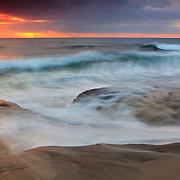 Incoming Waves At High Tide - La Jolla Shoreline - Dusk