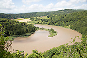 View north towards Lancaut over incised meander, gorge and river spit, River Wye, near Chepstow, Monmouthshire, Wales, UK