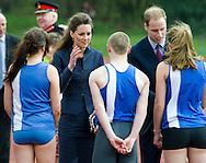 """.MISS CATHERINE MIDDLETON and PRINCE WILLIAM.Prince William and Kate Middleton visited Lancashire on their final public engagements before their wedding in 18 days.The Royal couple visited the Darwen Aldridge Community Academy (DACA) followed by a visit to Witton Country Park to view activities that took place to highlight the importance of outdoor recreational spaces.Miss Middleton was invited to start a 100m race and presented the winner with a medal.The Royal couple also took time to walk about and meet the crowds that had waited through torrential weather conditions. As the Couple carried out their duties the skies cleared and the Sun shone though. Darwen_11/04/2011.Mandatory Credit Photo: ©Alexander Dias/NEWSPIX INTERNATIONAL..**ALL FEES PAYABLE TO: """"NEWSPIX INTERNATIONAL""""**..IMMEDIATE CONFIRMATION OF USAGE REQUIRED:.Newspix International, 31 Chinnery Hill, Bishop's Stortford, ENGLAND CM23 3PS.Tel:+441279 324672  ; Fax: +441279656877.Mobile:  07775681153.e-mail: info@newspixinternational.co.uk"""