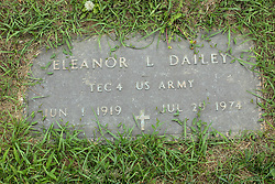 31 August 2017:   Veterans graves in Park Hill Cemetery in eastern McLean County.<br /> <br /> Eleanor L Dailey  TEC 4 US Army  Jun 1 1919  Jul 25 1974