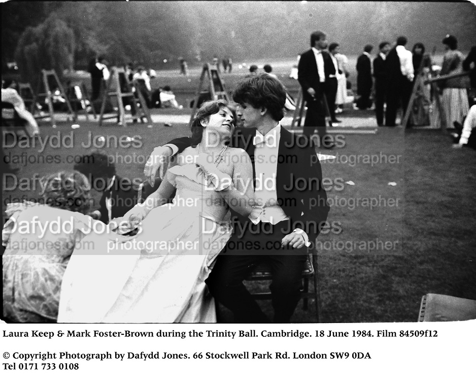 Laura Keep & Mark Foster-Brown during the Trinity Ball. Cambridge. 18 June 1984. Film 84509f12<br />© Copyright Photograph by Dafydd Jones<br />66 Stockwell Park Rd. London SW9 0DA<br />Tel 0171 733 0108