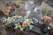 Detail of wreaths to a mother and grandmother on a recent grave in a rural french hamlet in Indre-et-Loir.