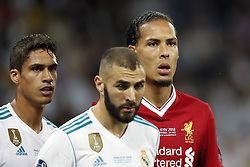 (L-R) Raphael Varane of Real Madrid, Karim Benzema of Real Madrid, Virgil van Dijk of Liverpool FC during the UEFA Champions League final between Real Madrid and Liverpool on May 26, 2018 at NSC Olimpiyskiy Stadium in Kyiv, Ukraine