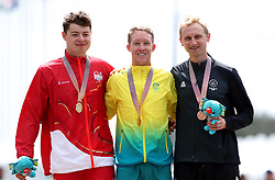 England's Harry Tanfield (Silver), Australia's Cameron Meyer (Gold) and New Zealand's Hamish Bond (Bronze) during the Medal ceremony for the Men's Individual Time Trial at Currumbin Beachfront on day six of the 2018 Commonwealth Games in the Gold Coast, Australia.