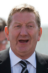© Licensed to London News Pictures. 29/02/12. LONDON, UK. Len McCluskey has said unions should consider disrupting the London Olympics as part of their campaign against Government cuts. FILE PICTURE:Unite general secretary Len McCluskey following a union meeting at Bedfont Football club today (12/05/2011).  British Airways and the Unite union have reached an agreement to settle their long-running industrial dispute. A mass meeting of Unite members voted almost unanimously to put a new deal to a ballot of around 7,000 workers, with a recommendation to accept. See special instructions for usage rates. Photo credit should read Ben Cawthra/LNP