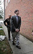 CHARLOTTESVILLE, VA - FEBRUARY 14: George Huguely is escorted to court for his trial in the death of former girlfriend Yeardley Love. Huguely was charged in the May 2010 death of his girlfriend Yeardley Love. She was a member of the Virginia women's lacrosse team. Huguely pleaded not guilty to first-degree murder. (Credit Image: © Andrew Shurtleff)