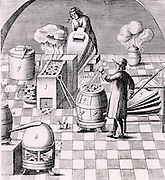 Assaying copper: Furnaces (1,4), ore (3), bellows (5), and aeolipile (6) to supply draught to furnaces. Pot in which flux is prepared (8).  From 1683 English edition of Lazarus Ercker  'Beschreibung allerfurnemisten mineralischen Ertzt- und Berckwercksarten' originally published in Prague in 1574. Copperplate engraving.