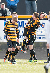 Alloa Athletic's Kevin Cawley (7) cele scoring their second goal.<br /> Alloa Athletic 3 v 0 Falkirk, Scottish Championship game played today at Alloa Athletic's home ground, Recreation Park.<br /> © Michael Schofield.