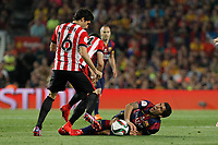 Barcelona´s Luis Suarez (R) and Athletic de Bilbao´s Xabier Etxeita during 2014-15 Copa del Rey final match between Barcelona and Athletic de Bilbao at Camp Nou stadium in Barcelona, Spain. May 30, 2015. (ALTERPHOTOS/Victor Blanco)