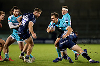 Rugby Union - 2020 / 2021 Gallagher Premiership - Sale Sharks vs Worcester Warriors - AJ Bell Stadium<br /> <br /> Ashley Beck of Worcester Warriors is tackled by AJ McGinty of Sale Sharks<br /> <br /> COLORSPORT/PAUL GREENWOOD