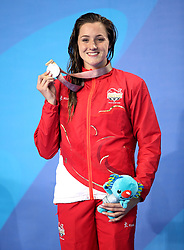 England's Molly Renshaw with her silver medal after the Women's 200m Breaststroke Final at the Gold Coast Aquatic Centre during day three of the 2018 Commonwealth Games in the Gold Coast, Australia.