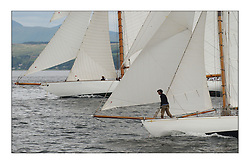 Fife Cutter bows of Moonbeam to lee and Viola to windward...This the largest gathering of classic yachts designed by William Fife returned to their birth place on the Clyde to participate in the 2nd Fife Regatta. 22 Yachts from around the world participated in the event which honoured the skills of Yacht Designer Wm Fife, and his yard in Fairlie, Scotland...FAO Picture Desk..Marc Turner / PFM Pictures