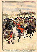 A corps of Siberian Amazons: Female Cossacks on military exercises on the plain of Nikolsk-Oussourisk, Russia.  From 'Le Petit Journal', Paris, 30 October 1904.