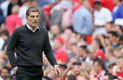 "West Ham United manager Slaven Bilic during the Premier League match at Old Trafford, Manchester. PRESS ASSOCIATION Photo. Picture date: Sunday August 13, 2017. See PA story SOCCER Man Utd. Photo credit should read: Richard Sellers/PA Wire. RESTRICTIONS: EDITORIAL USE ONLY No use with unauthorised audio, video, data, fixture lists, club/league logos or ""live"" services. Online in-match use limited to 75 images, no video emulation. No use in betting, games or single club/league/player publications."
