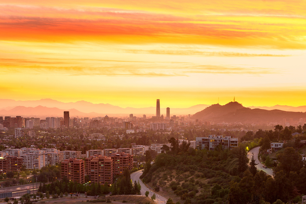 Panoramic view of Santiago de Chile at sunset.