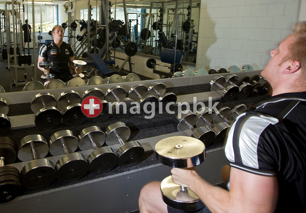 Swiss wrestling star Christoph BIERI of Switzerland is pictured during weight training at the Active Gym 33 in Langenthal, Switzerland, Friday, May 13, 2011. (Photo by Patrick B. Kraemer / MAGICPBK)