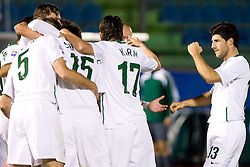 Slovenia players and Bojan Jokic celebrate after first goal at the last 2010 FIFA World Cup South Africa Qualifying match in Group 3 between San Marino and Slovenia, on October 14, 2009, in Olimpico Stadium, Serravalle, San Marino. Slovenia won 3:0. (Photo by Vid Ponikvar / Sportida)