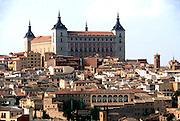 SPAIN, LA MANCHA, TOLEDO Skyline with Alcazar, 13th c. fortress