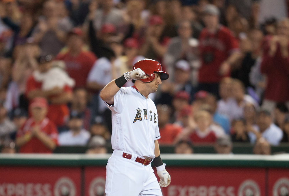 The Angels' Cliff Pennington celebrates his RBI single in the eighth inning during the Angels' 5-1 victory over the Detroit Tigers Monday at Angel Stadium.<br /> <br /> ///ADDITIONAL INFO:   <br /> <br /> angels.0531.kjs  ---  Photo by KEVIN SULLIVAN / Orange County Register  -- 5/30/16<br /> <br /> The Los Angeles Angels take on the Detroit Tigers Monday at Angel Stadium.