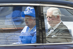 June 21, 2017 - London, London, UK - London UK. HRH Queen Elizabeth & Prince Charles heading to Parliament for the Queens speech marking the opening of Parliament. This years speech is expected to be overshadowed by 'day of rage protests' by left wing campaigners. (Credit Image: © Andrew Mccaren/London News Pictures via ZUMA Wire)