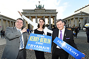 Evelyn Horvath, Ryanair with Basil Sheerin and Noel Ryan from kerry Airport at The Branderbugh Gate in Berlin at the weekend  promoting tourism and the inaugural twice weekly Ryanair flight to Berlin from Kerry. The flight will operate between Kerry Airport and Berlin Shoenefeld every Thursday & Sunday.<br /> Photo: Don MacMonagle <br /> <br /> <br /> repro free photo from Kerry Airport