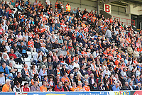 Blackpool's traveling support filled the corner section of the main stand besides the entire away stand behind the goal<br /> <br /> Photographer Stephen White/CameraSport<br /> <br /> Football - The EFL Sky Bet League Two - Morecambe v Blackpool - Saturday 13th August 2016 - Globe arena - Morecambe<br /> <br /> World Copyright © 2016 CameraSport. All rights reserved. 43 Linden Ave. Countesthorpe. Leicester. England. LE8 5PG - Tel: +44 (0) 116 277 4147 - admin@camerasport.com - www.camerasport.com