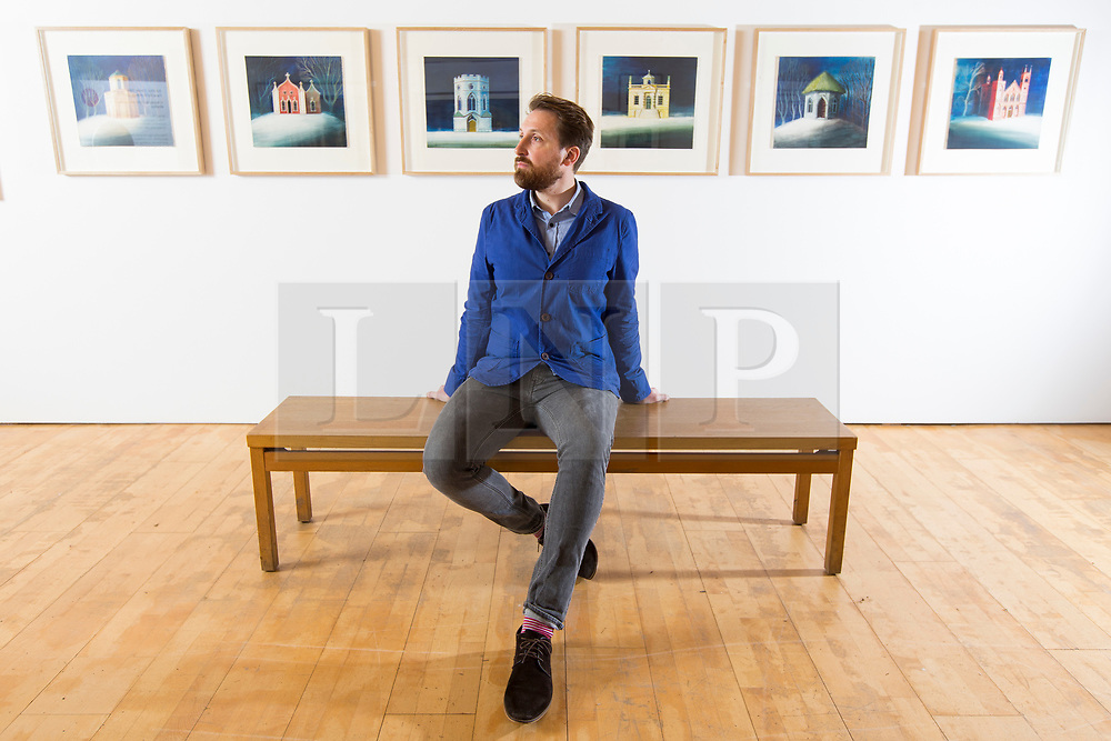 © Licensed to London News Pictures. 09/11/2017. Wakefield UK. Artist Ed Kluz at his new exhibition called Folly-fanciful Buildings of Britain at the Yorkshire Sculpture Park. The exhibition celebrates the eccentric, uncanny & overlooked follies, temples & towers that dot the British landscape.  This is the largest solo exhibition to date by the artist, illustrator & printmaker Ed Kluz. Photo credit: Andrew McCaren/LNP