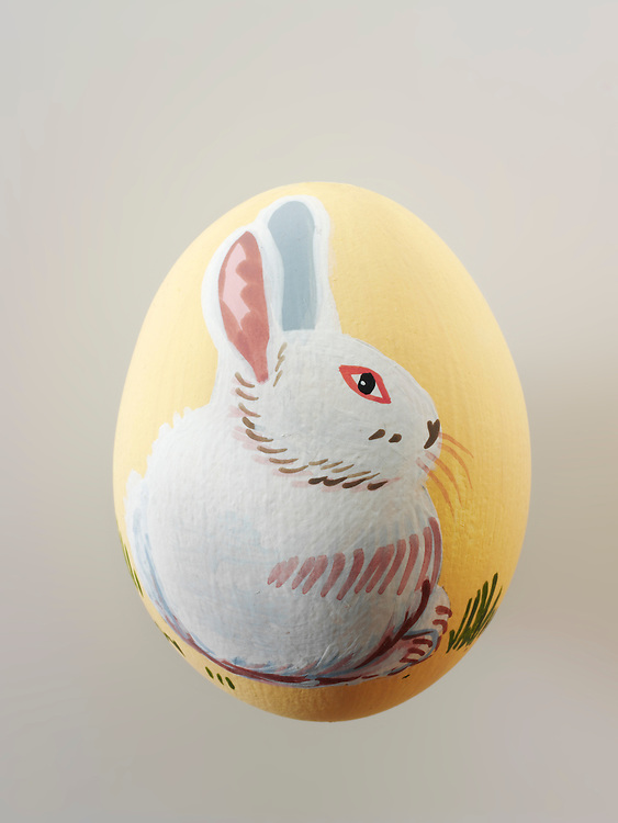 Traditional decorated Easter eggs with easter bunny illustration