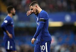 Chelsea's Eden Hazard looks dejected during the Premier League match at Stamford Bridge, London.