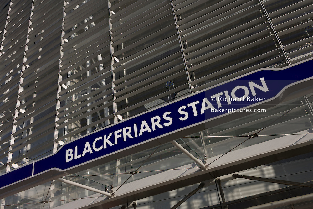 Entrance of the newly-finished Blackfriars mainline Station in the City of London. A larger and more accessible Blackfriars Underground station reopened for public service to accommodate more than 40,000 passengers every day.