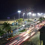 Ipanema and Leblon beach at night time. Rio de Janeiro,  Brazil. 9th July 2010. Photo Tim Clayton..