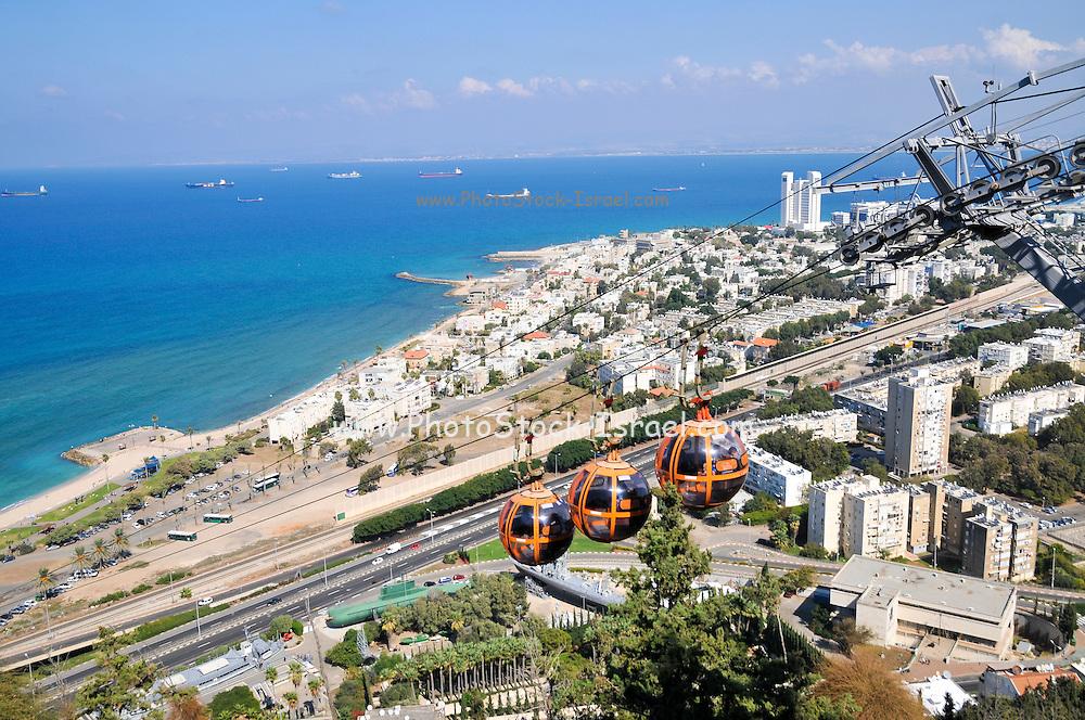 Israel, Haifa, the Stella Maris cable car station