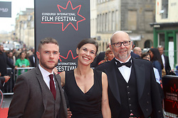 Iain De Caestecker, Ana Ularu and Jason Connery, jurors at the EIFF premiere of Puzzle, Festival Theatre, Edinburgh pic copyright Terry Murden @edinburghelitemedia