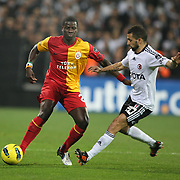 Galatasaray's Emmanuel EBOUE (L) during their Turkish Superleague Derby match Besiktas between Galatasaray at the Inonu Stadium at Dolmabahce in Istanbul Turkey on Sunday, 20 November 2011. Photo by TURKPIX