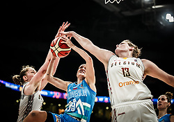 Nika Baric of Slovenia vs Kyara Linskens of Belgium during basketball match between Women National teams of Belgium and Slovenia in the Qualification for the Quarter-Finals of Women's Eurobasket 2019, on July 2, 2019 in Belgrade Arena, Belgrade, Serbia. Photo by Vid Ponikvar / Sportida