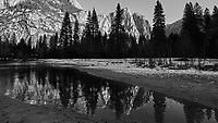 Yosemite Valley and Merced River Reflections in the Winter. Yosemite National Park. Image taken with a Nikon D3x camera and 14-24 mm f/2.8 lens.