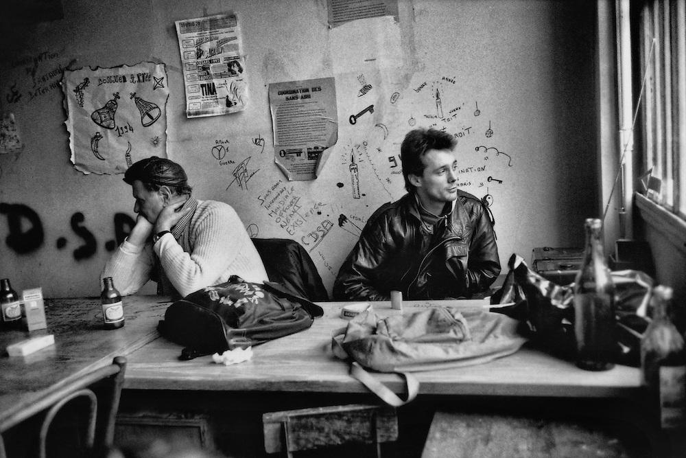 Paris, 1994.<br /> Coordination des Sans Abris. Occupation d'un immeuble.