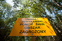 29.07.2014 gmina Michalowo N/z tablice informujace o zagrozeniu afrykanskim pomorem swin fot Michal Kosc / AGENCJA WSCHOD