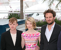 Dane Dehaan, Mia Wasikowska, Jason Clarke at the Lawless film photocall at the 65th Cannes Film Festival. The screenplay for the film Lawless was written by Nick Cave and Directed by John Hillcoat. Saturday 19th May 2012 in Cannes Film Festival, France.