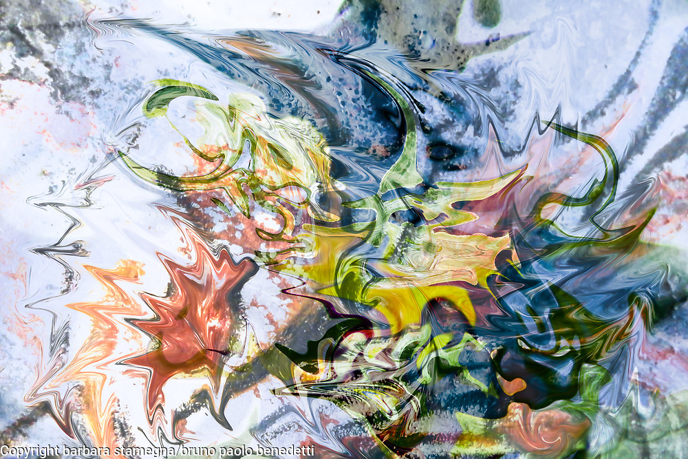 fluid objects art abstraction: colorful mottled image with floating shapes