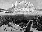 Blowing up Flood Rock, part of the Hell Gate Rocks complex which prevented large vessels reaching New York Harbour, and presented a hazard to smaller ones. Dynamite was the explosive used. From 'Le Journal de la Jeunesse', Paris, 1886.
