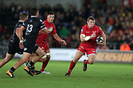 Hadleigh Parkes of the Scarlets (r) . Guinness Pro14 rugby match, Ospreys v Scarlets at the Liberty Stadium in Swansea, South Wales on Saturday 7th October 2017.<br /> pic by Andrew Orchard, Andrew Orchard sports photography.