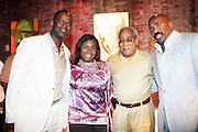 """l to r: Brian McKnight, Crystal Worthem, Chick Morris, and Steve Harvey at """" Lincoln After Dark """" sponsored by Lincoln Motors and hosted by Idris Elba and Steve Harvey and music by Biz Markie during the 2009 Essence Music Festival and held at The Contemporary Arts Center in New Orleans on July 4, 2009"""