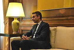 June 20, 2017 - Athens, Attiki, Greece - President of New Democracy party, Kyriakos Mitsotakis, during the meeting with Greek Prime Minister Alexis Tsipras  (Credit Image: © Dimitrios Karvountzis/Pacific Press via ZUMA Wire)