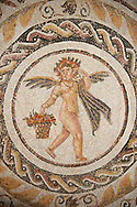 Picture of a Roman mosaics design depicting Silenus and fishing cupids, from the ancient Roman city of Thysdrus. 3rd century AD, House of Silenus. El Djem Archaeological Museum, El Djem, Tunisia. .<br /> <br /> If you prefer to buy from our ALAMY PHOTO LIBRARY Collection visit : https://www.alamy.com/portfolio/paul-williams-funkystock/roman-mosaic.html . Type - El Djem - into the LOWER SEARCH WITHIN GALLERY box. Refine search by adding background colour, place, museum etc<br /> <br /> Visit our ROMAN MOSAIC PHOTO COLLECTIONS for more photos to download as wall art prints https://funkystock.photoshelter.com/gallery-collection/Roman-Mosaics-Art-Pictures-Images/C0000LcfNel7FpLI