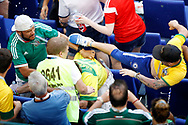 Clash between fans during the 2018 FIFA World Cup Russia, round of 16 football match between Brazil and Mexico on July 2, 2018 at Samara Arena in Samara, Russia - Photo Tarso Sarraf / FramePhoto / ProSportsImages / DPPI
