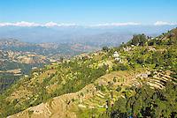 Nepal. Vallee de Katmandou. Vue sur le massif de l Himalaya depuis Dhulikel. // Nepal. Kathmandu valley. Himalayan view from Dhulikel city.