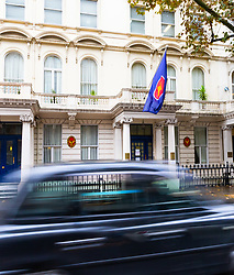 The Royal Thai embassy in Kensington, London where a Leicester City Football shirt, left as a tribute to their late owner who was killed in a helicopter crash outside the King Power stadium in Leicester along with four others, was stolen. London, November 01 2018.